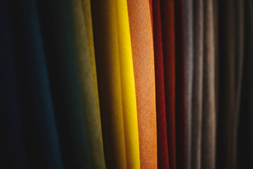 colourful fabrics, including those made with artificial fibres
