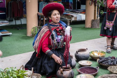 A demonstration of natural dyeing at the Centro Cultural Parwa in Chinchero