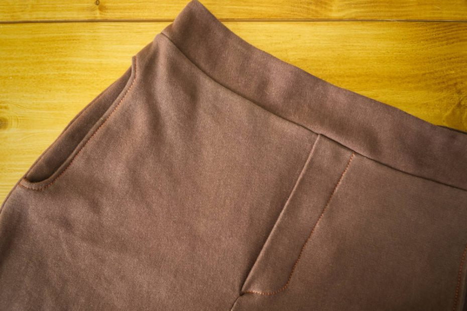 Chestnut brown fabric and copper thread go quite nicely together