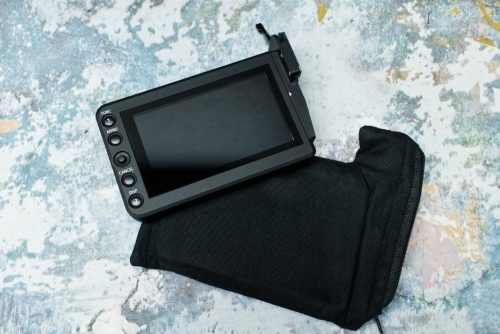 A simple zipper pouch modified to fit a camera monitor
