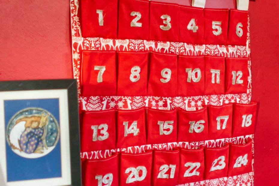 My reusable advent calendar hanging up ready for December