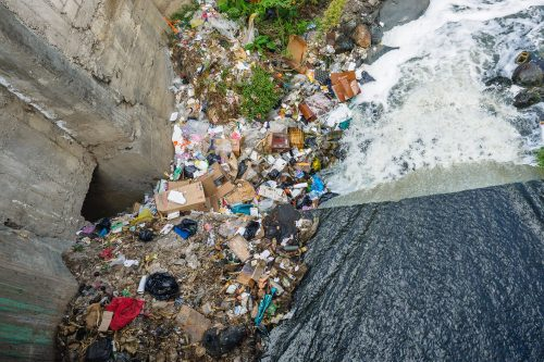 Recycled polyester is often made from plastic bottles and pollution recovered from our rivers or oceans